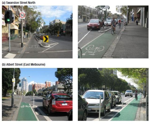 Kerbside bicycle lanes in Melbourne