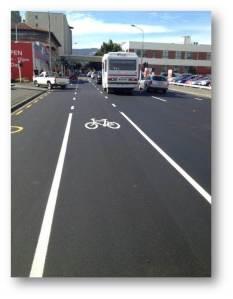 New 2.4 metre bike lane on Cumberland.