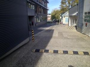 Potential hazard from pedestrian cyclist blind corner